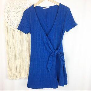 ZARA Cobalt Blue Ribbed Wrap Tie Shorts Romper Lrg